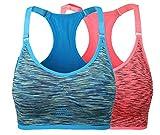 Ouno Women's Low-Impact Activity Sports Bra Workout Yoga Bras Blue Orange S/M