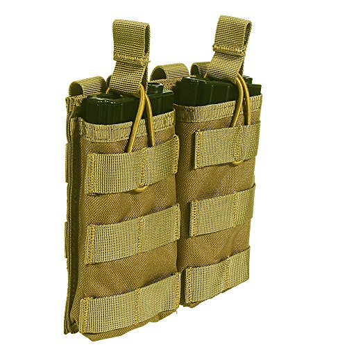 Loglife Tactical Magazine Pouch Holds Holster Double Pistol Mag Pouch Stacker M4/M16 Open Top 1000d with Bungee System ()