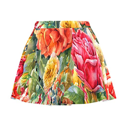 My Little Nest Women's A Line Watercolor Vintage Roses Pleated Skirt with Elastic Waist XXXXL (Print Rose Skirt Watercolor)