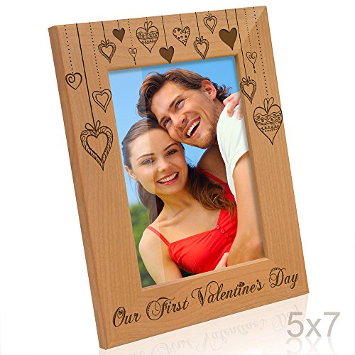Kate Posh - Our First Valentine's Day Engraved Natural Wood Picture Frame, First Valentine's Together, Valentine's Day Gift for Couple, for Her, for Him, Valentine's Day Wedding Gifts - For Picture Gifts Him