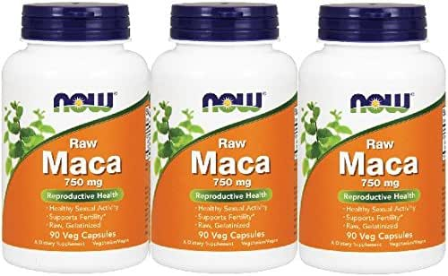 Maca 750 mg Raw,90 Veg Capsules NOW (pack of 3)