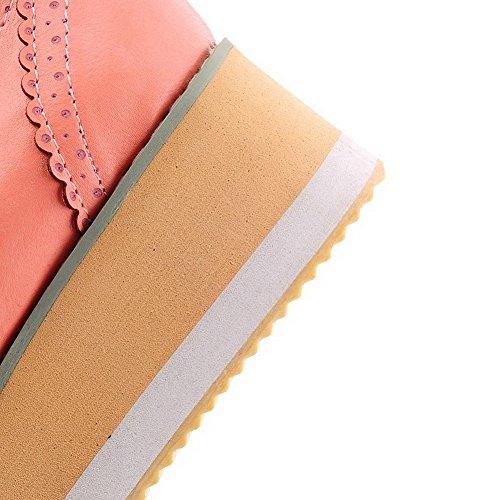 AgooLar Damen Gerafft Niedriger Absatz Schließen Zehe Schnalle Pumps Schuhe Pink