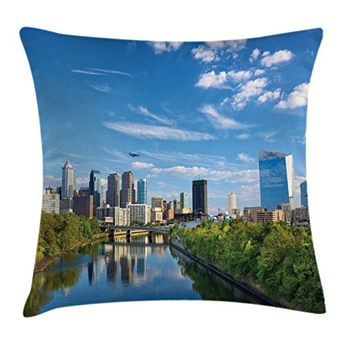 USA Throw Pillow Cushion Cover by Lunarable, Schuylkill River in Philadelphia Pennsylvania United States Foliage Bushes Greenery, Decorative Square Accent Pillow Case, 40 X 40 Inches, Tan Blue Green Christmas Displays In Philadelphia