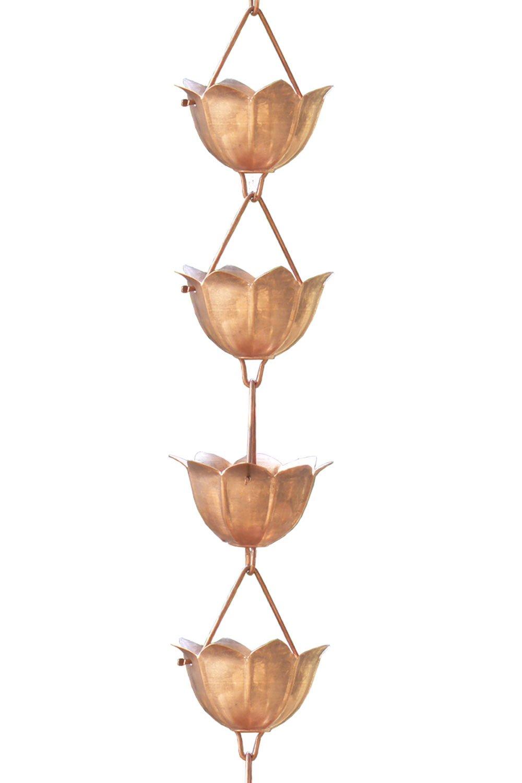 Monarch Pure Copper Lotus Rain Chain, 8-1/2-Feet Length