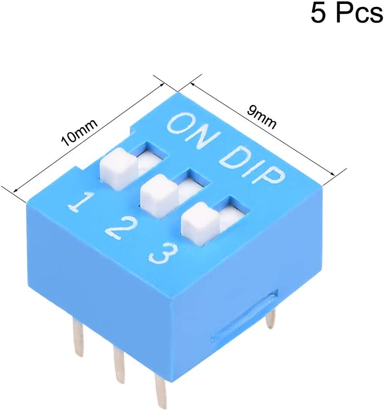 uxcell 5 Pcs Blue DIP Switch Horizontal 12 3 Positions 2.54mm Pitch for Circuit Breadboards PCB