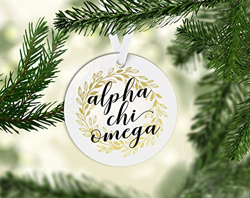 Susie85Electra Axo Alpha Chi Omega Gold Wreath 3 Inch Porcelain Novelty Christmas Ornament