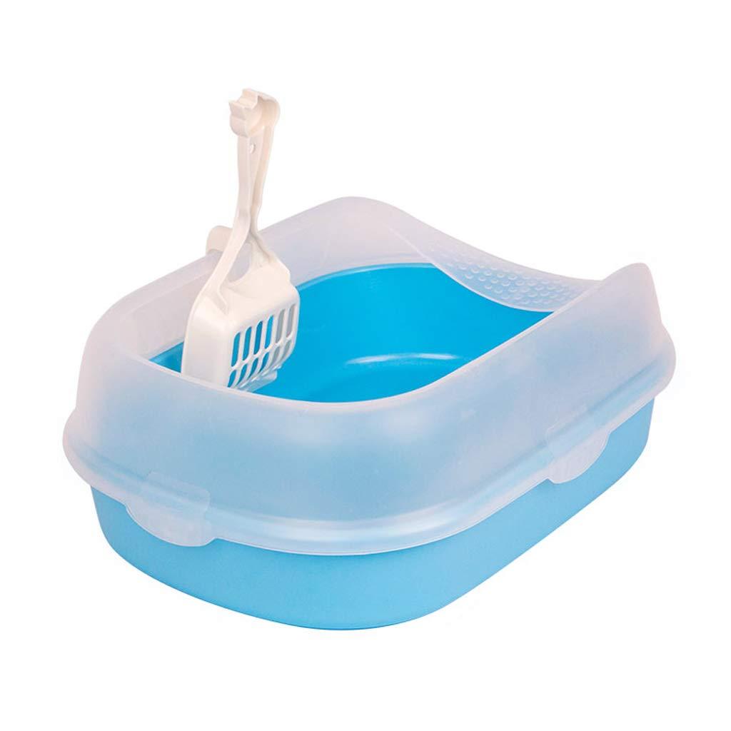 bluee L bluee L FUTER-Pet toilet Dog Cat Bowl Urinal Basin Splatter Prevention Semicerrado Sand For Cats Pet Supplies (color   bluee, Size   L)