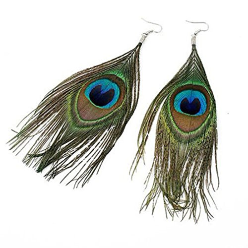 Drop Earrings Assorted Colours - STHstore Hot Selling New Style Assorted Color Peacock Natural Feather Earrings Drop Earrings