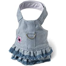 Doggles Dog Harness Dress with Jean Fringe, Blue, Small