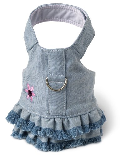 Doggles Dog Harness Dress with Jean Fringe, Blue, Small - Doggles Small Harness