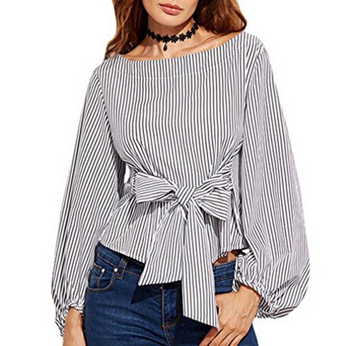 74b1baeaa1f52 Lesimsam Women's Plus Size Gril Striped Off Shoulder Bowknot Blouses Ruffle  Puff Sleeve Blouse Tops (