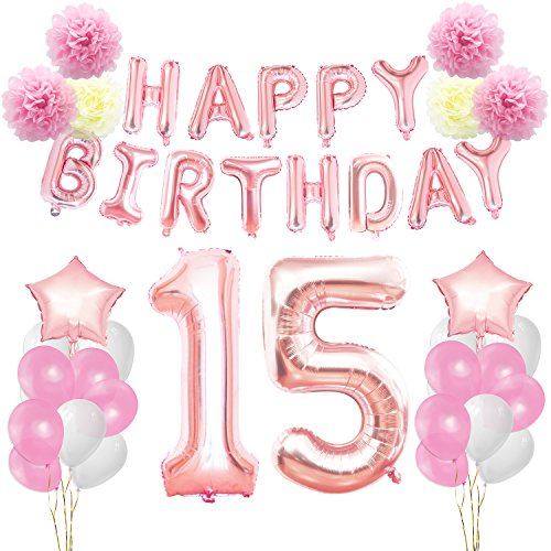 KUNGYO 15th Birthday Decorations Kit-Rose Gold Happy Birthday