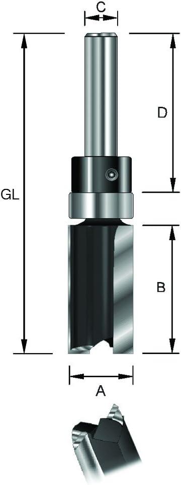 16 mm L total de 62 mm ENT Fresa de corte recto HW D 32 mm Di/ámetro 8 mm A con rodamiento de bola C B 25 mm Mango