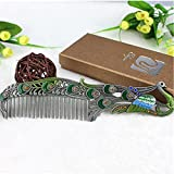 Spritech(TM) New Art Tin Bronze Peacock Comb Classic Retro Makeup Comb Art Crafts Collection