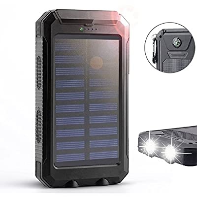 Outtek Solar Charger, Solar Power Bank 10000mAh External Backup Battery Pack Dual USB Solar Panel Charger with 2LED Light Carabiner Compass Portable for Emergency Outdoor Camping Travel from OUTTEK