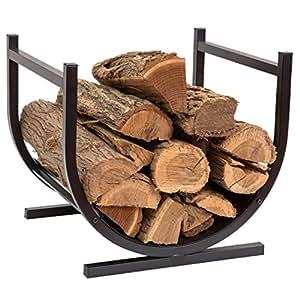DOEWORKS Small Decorative Indoor/Outdoor Firewood Racks Fireside Log Rack, Black