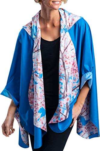 (RainCaper Rain Poncho for Women - Reversible Rainproof Hooded Cape in Gorgeous Ultrasoft Colors (Blue Sky/Cherry Blossoms))