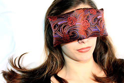 (Handmade Eye Pillow by Candi Andi - Yoga/Therapy - Microwavable Hot/Cold - Flax Seed Filled - Colorful Satin Brocade and Crushed Velvet - Lavender Scented or Unscented - Mocha Rose - TEPL-MR)