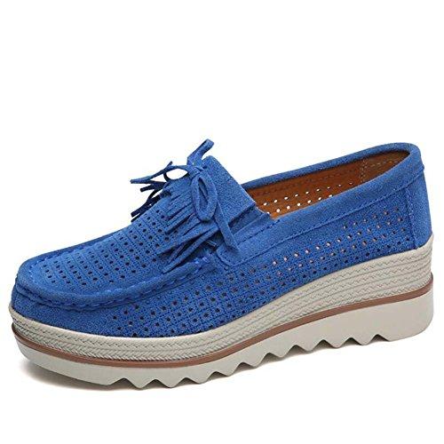 SHINIK Zapatos de plataforma casuales de las mujeres zapatos respirables cuña tamaño 35-40 Azul
