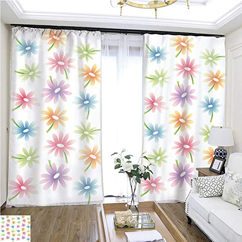 (Curtain lace Floral Pattern Spring W108 x L85 Flowers in The Curtain Highprecision Curtains for bedrooms Living Rooms Kitchens etc.)