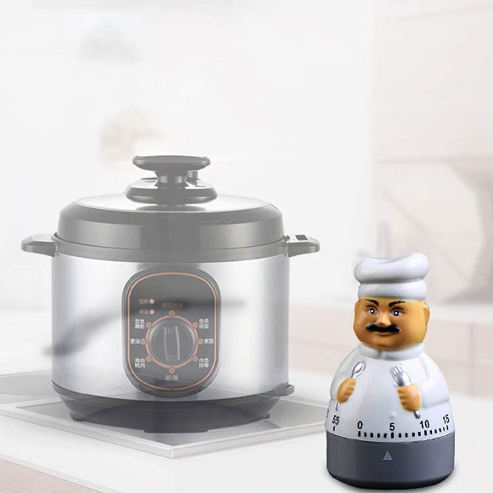 ekqw015l Fashion Clock for Home Living Room Bedroom Decor /& 60 Minutes Cute Chef Shaped Mechanical Cooking Kitchen Timer Dial Alarm Clock