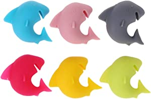6 Pcs Wine Glass Charms Funny Shark Silicone Wine Cup Markers Reusable Drink Bottle Stickers for Wine Tasting Party Decorations Birthday Gifts Christmas Favors