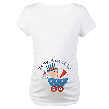 95182f4e0 CafePress Baby's 1St 4Th Of July - Cotton Maternity T-Shirt, Cute & Funny