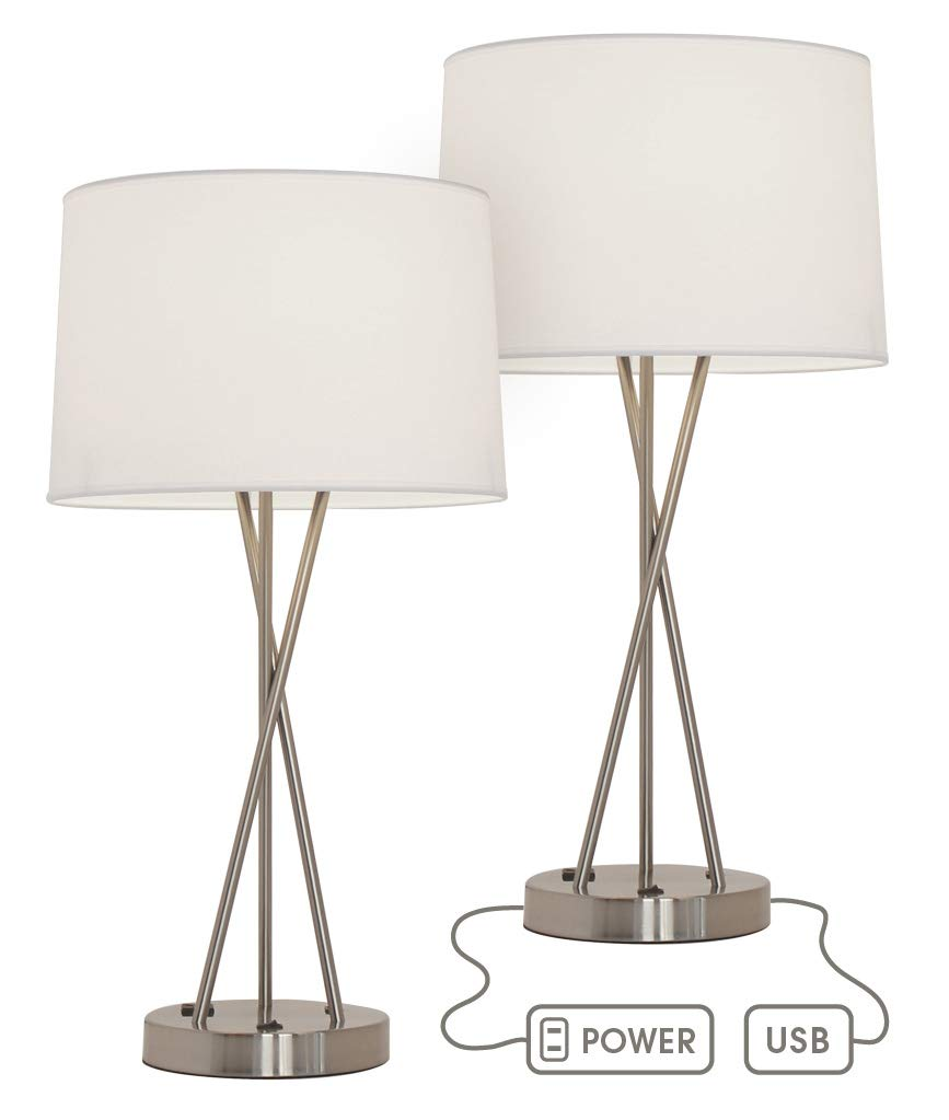 Paradis Brushed Nickel Lamp with Outlet and USB Port (Set of 2)