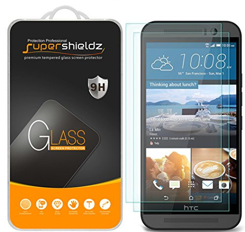 (2 Pack) Supershieldz for HTC One M9 Tempered Glass Screen Protector, Anti Scratch, Bubble Free
