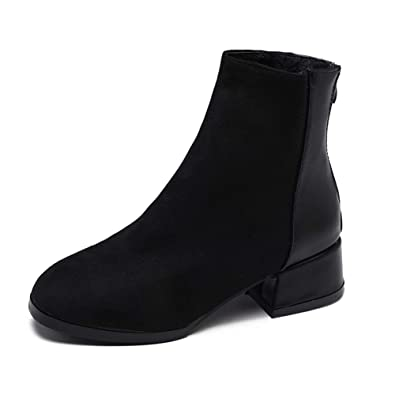 Suede Leather Ankle Boots for Women Chunky Low Heels Winter Shoes Woman Plush Insole Zapatos Booties