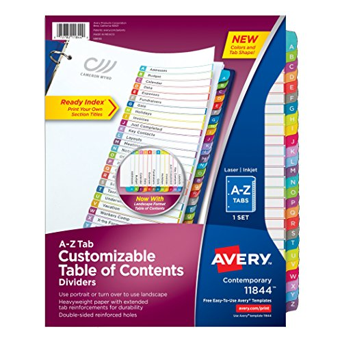 Alphabet Index Dividers - Avery Customizable Table of Contents Dividers, A-Z Set (11844)