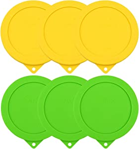 Sophico 4 Cup Round Silicone Storage Cover Lids Replacement for Anchor Hocking and Pyrex 7201-PC Glass Bowls (Container not Included) (YellowGreen-6pack)