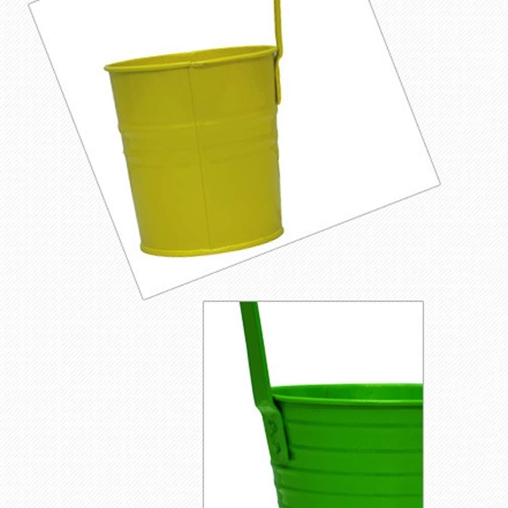 Vosarea Hierro Flor Planta Maceta Colgante Sembradora Tenedor Cubo de metal Interior al aire libre para jardín Balcón Pared - Verde: Amazon.es: Jardín