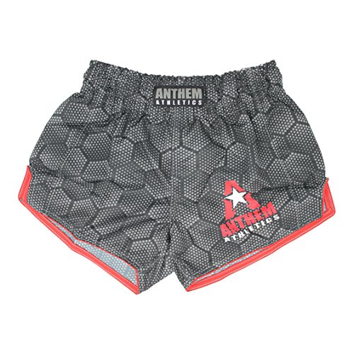 ! 10+ Styles RECKONER Retro Muay Thai Shorts - Kickboxing, Thai Boxing - Black Hex With Red - Large ()