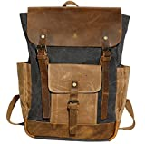 Vintage Waterproof Waxed Canvas Leather Laptop Backpack Canvas Casual School College 15.6'' Laptop Bag Business Travel Rucksack For Men, For Women Gift Unisex Backpack-Grey