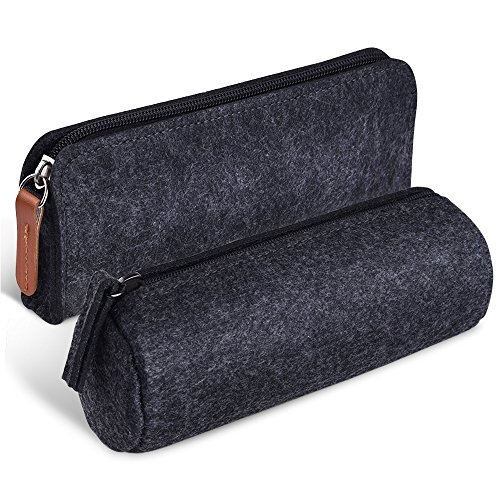KUUQA Dark Gray Felt Pen Pencil Case Stationery Pouch Bag Ca