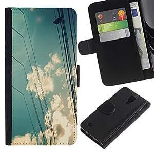 Planetar® Modelo colorido cuero carpeta tirón caso cubierta piel Holster Funda protección Para Samsung Galaxy S4 IV I9500 ( Nuages ??Sky Sun Bird Assis Nature )