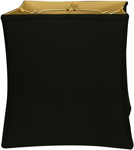 Royal Designs Square Cube Bell Basic Lamp Shade, Black Gold 14 x 15 x 14