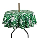 "Lahome Palm Leaf Pattern Outdoor Tablecloth with Umbrella Hole - Water Resistant Spillproof Table Cover for Spring Summer Birthday Party Home Decor (Palm Leaf, Zippered - 60"" Round)"