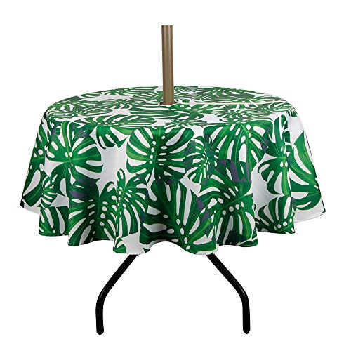 Lahome Palm Leaf Pattern Outdoor Tablecloth with Umbrella Hole - Water Resistant Spillproof Table Cover for Spring Summer Birthday Party Home Decor (Palm Leaf, Zippered - 60