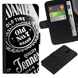 LASTONE PHONE CASE / Lujo Billetera de Cuero Caso del tirón Titular de la tarjeta Flip Carcasa Funda para Samsung Galaxy S5 Mini, SM-G800, NOT S5 REGULAR! / Whiskey Alcohol Bottel Party Quality Design