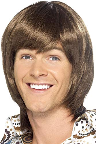 Smiffys Men's Brown 70's Heartthrob Wig with Side Swept Bangs, One Size, -