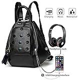 Deal Especial Women's Backpack Handbag With Usb Charging Port Or Aux Port (De_Fhb_136H, Black)