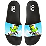 Cartoon Dinosaur With Skateboard Summer Slide Slippers For Boy Girl Outdoor Beach Sandal Shoes size 2