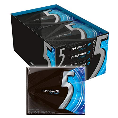 5 Gum Peppermint Cobalt Sugarfree Gum, 15 Piece (10 Pack)