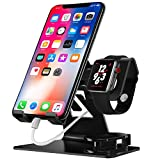 Chic_gifts Cell Phone Stand Compatible for Apple Watch Charger Charging Stand IPhone IWatch 2 in 1 Aluminium Stand Tablet Desk Docking Station for IPad, IPhone 6s 7 8 X Plus, Nintendo Switch (Black)