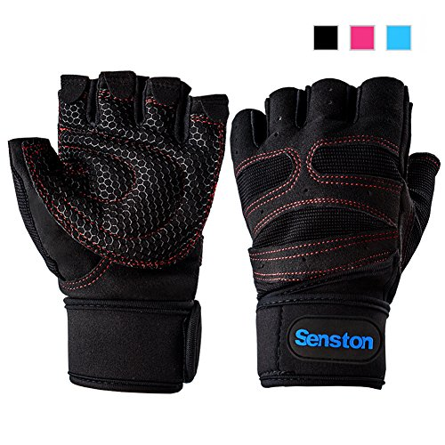 Senston Half Finger Sport Gloves Cycling Mountain Road Bike Racing Bicycle Gloves Bodybuilding Exercise Sport GYM Fitness Gloves for Men Women Black Color