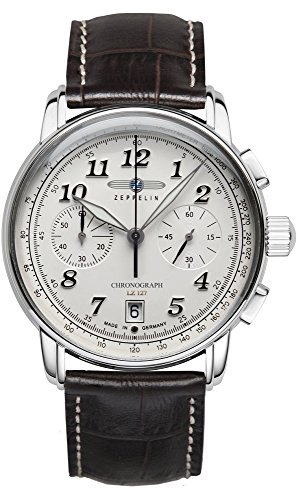 Zeppelin Men's Watch LZ127 Chrono Stainless Steel White Dial 8674-1