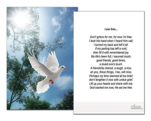 Funeral Memorial Prayer Cards (50 Cards) FPC1016EN Dove (Select Desired Prayer) ()