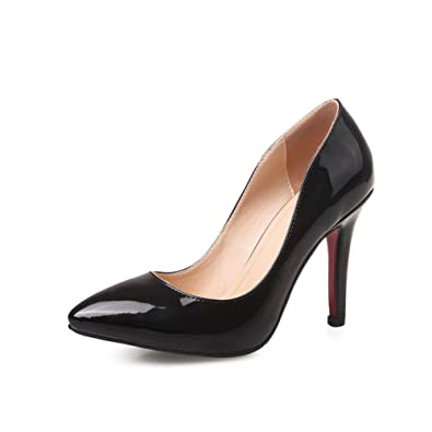 8935c8558e54 VASHOP Women s Patent Leather High Heel Pointed Toe Stiletto Office Lady  Court Shoes